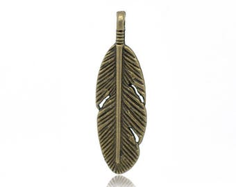 Bronze feather 2 charms.