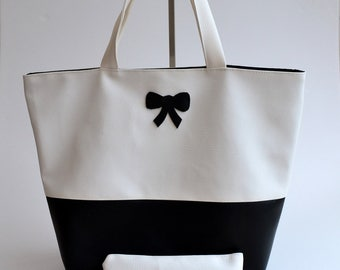 Bag Tote and pouch black imitation leather made handmade bow and white fashion woman @lacouturebytitia