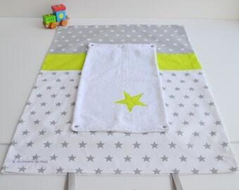 Mattress cover diaper sponge made handmade OWL star grey and lime green @lacouturebytitia