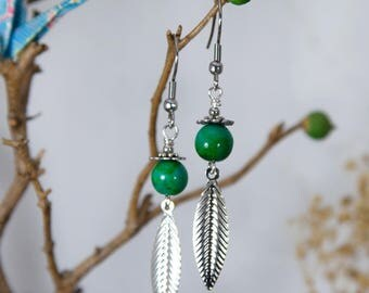 Chrysocolla and silver leaf charms earrings