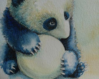 cute panda with leafe + ball, watercolour, A4, Contemporary art littlecl@mail.ru