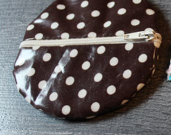 Coin purse with polka dots coated fabric