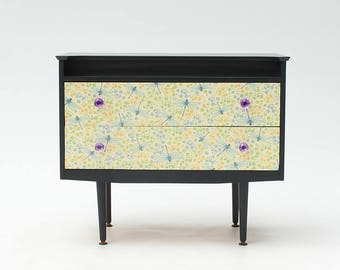 Upcycled Mid-Century Chest of Drawers with Dragonfly paper