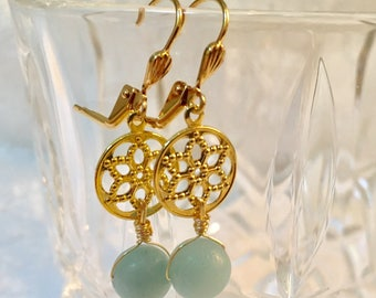 Blue Angelite gem and gold plated dangle flower earrings