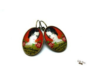 Lady earrings retro vintage glass dome