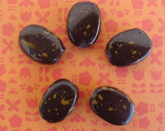 Set of 5 beads Brown and beige glass 10x20mm