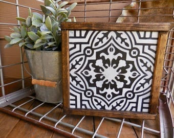 Mini Sign - Black and White patterned