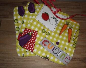 Large bib / napkin printed baby vegetables
