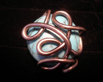 01205 - Ring aluminum with blue howlite cabochon
