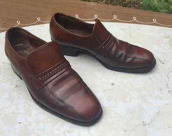 Florsheim Mens 6.5d Vintage 80s Brown Leather Bicycle Toe Slip on Loafers