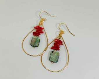 Gold Hoop Earrings with Dangled Red Coral and Abalone Shell