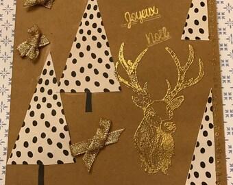Christmas, deer and tree, Kraft base card
