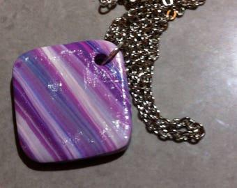 Square shape variation of purple necklace