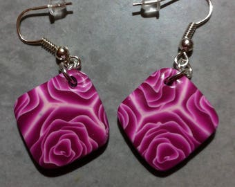 Earrings square cane pink