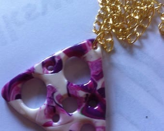 fashion necklace with openwork with polymer clay pendant
