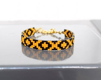 Bracelet yellow mustard and black