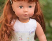 """18"""" Gotz Pottery Barn Doll with Red hair/Gray Eyes and Adorable Green/White DRESS and matching HAIRBAND and SHOES"""