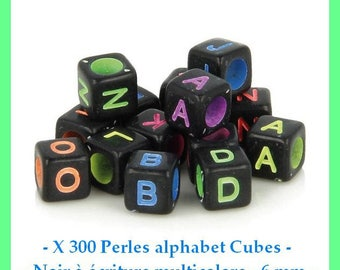 Alphabet Cubes - black with multicoloured writing - 6 mm - approximately 300 pcs - new beads