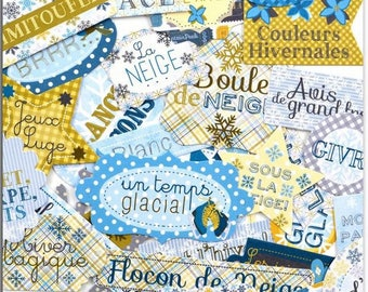 Embellishments - Die cuts - Winter Games words - 30 shapes in paper - Toga - new