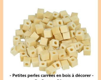 Small square wood blank - 5 mm beads / / 0.5 cm - 50 pcs.