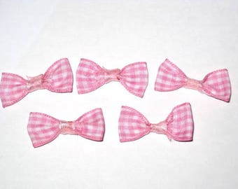 Set of 5 bows pink gingham fabric