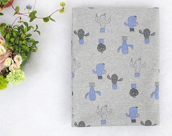 Grey cactus characters / 100% Cotton single jersey fabric / BY HALF YARD / cacti plant / soft stretch / Ykfabrics JJ64+