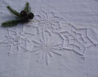 Small crocheted doilies handmade white cotton Christmas Decor