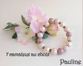 Romantic bracelet pearls satin in soft pastels Pauline