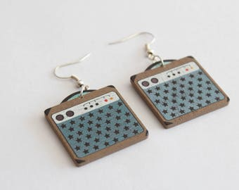 AMP wood earrings