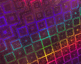 A4 cardstock holographic - various designs - color bright - Violet/square pattern