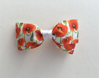 Poppy Floral Baby or Toddler Nylon Headband / Poppies / Bright Floral / White with Floral / Bow  Or Clip