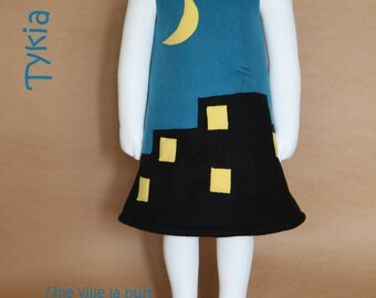 A city at night - dress girl in blue and Black Fleece