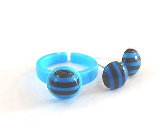 Dress children girl: stud earrings and ring candy striped turquoise and black ° °