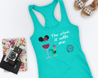 Epcot Drink Around the World Shirt, Disney Shirt for Women, Moana Drinking Tank, Ladies The wine, it calls me, Womens Graphic Tees Clothing