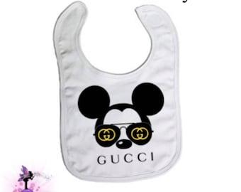 Mickey Mouse with  Aviator Sunglasses Baby Bib | Designer Inspired Bib | Baby Accessory | Baby Burp Cloth