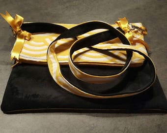 Trendy Black Suede pouch and yellow Japanese fabric