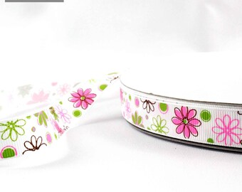16 mm white flower pink and green grosgrain Ribbon sold by the meter