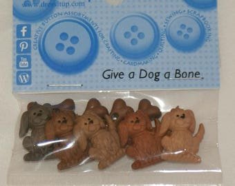 Set of 10 novelty buttons - dogs