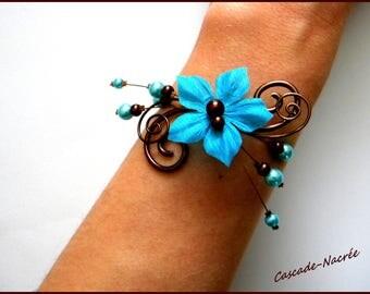 Pearl bracelet wedding bridal turquoise chocolate Margot aluminum