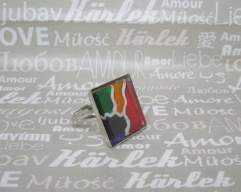 Hand painted square multicolor glass ring