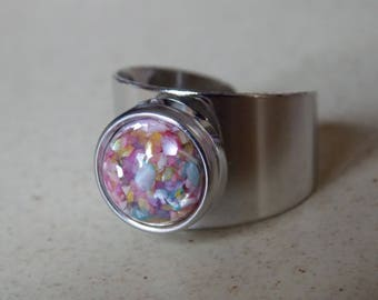 Pink Snap in silver ring size adjustable