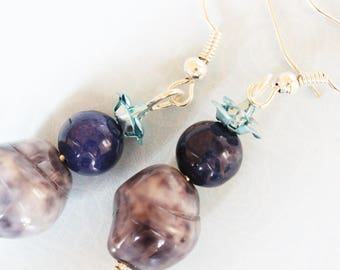❥ Polly stone with Blue Flower Earrings