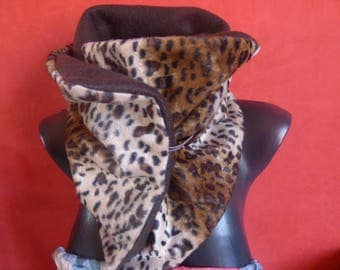 snood neck scarf faux fur leopard/fleece for women