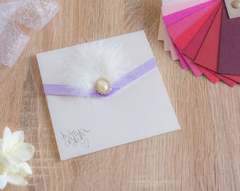 Handmade Pocketfold Wedding Invitation LilacFeather&Pearl