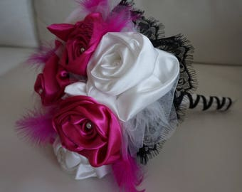 Fuchsia, black and white bridal bouquet