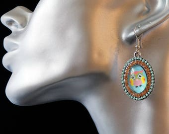 my hand made creation earrings OWL vintage new