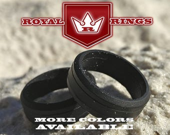 Men's Black Silicone Wedding Ring Durable Flexible Wedding Ring Band Fathers, Military, Husband Crossfit Gym Fitness