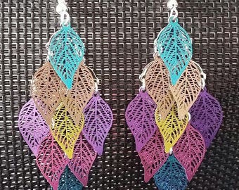 """Medley of leaves"" earrings 7 cm"
