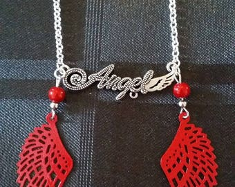 """""""Angel"""" on metal chain silver necklace 43cm + 7cm pendant"""