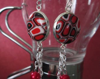 Earrings sleepers red mosaic polymer clay cabochons